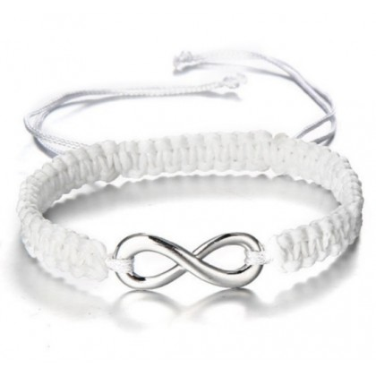 Personalized Infinity 2 Names Cord 925 Sterling Silver Bracelet