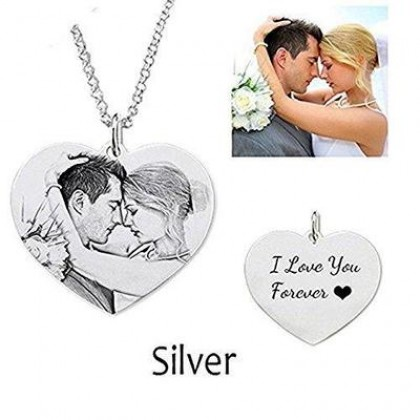 Heart Shape Engraved Photos Stainless Steel Pendant Necklace