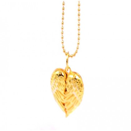 925 Sterling Silver Gold Plated Angel Wings Heart Photo Necklace