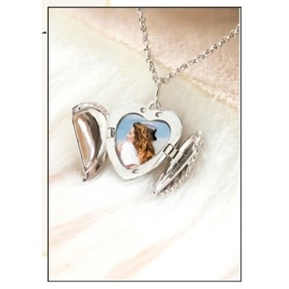 925 Sterling Silver Angel Wings Heart Photo Necklace
