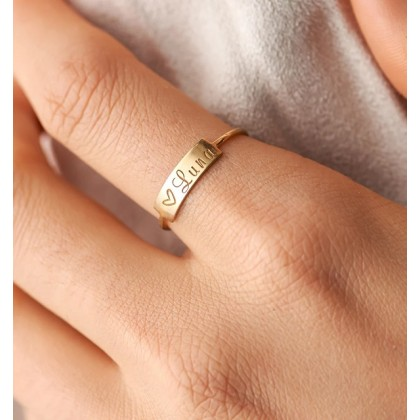 Small Personalized 925 Silver Bar Ring