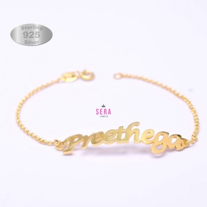 925 Sterling Silver Gold Plated Personalized Name Bracelets