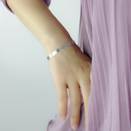Custom Made 925 Silver Man Bangle Gold Plated Cuff Bracelet