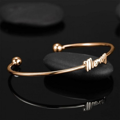 925 Sterling Silver Rose Gold Plated Lady Bangle Cuff Bracelet