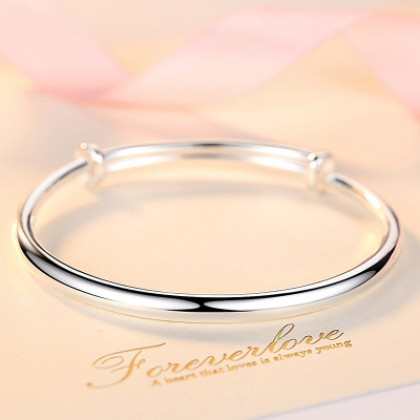 999 Silver Round Adjustable Women Wristband Bangle Bracelet