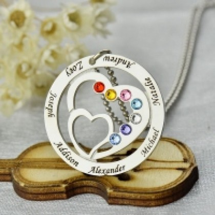 925 Sterling Silver Seven Name and Birthstones Heart in Heart Family Necklace
