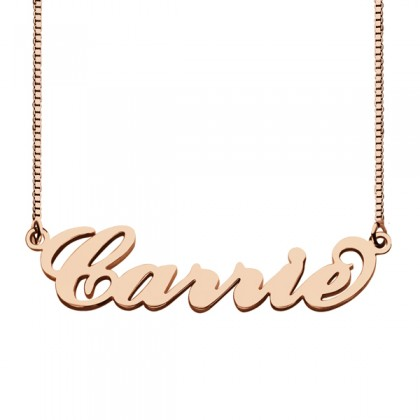 """Sera Rose Gold Plated """"Carrie"""" Style 925 Silver Name Necklace"""