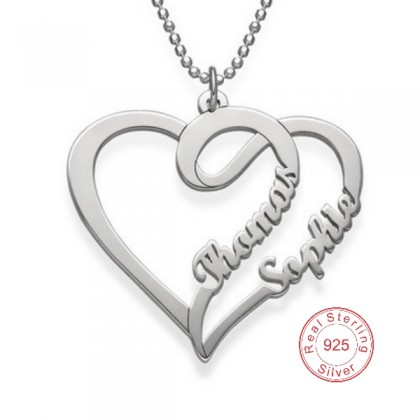 Heart Shape Silver Necklace With Two Names