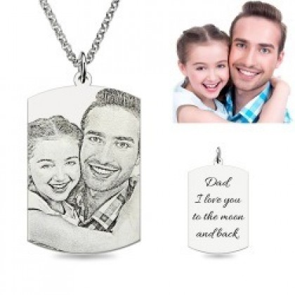 Stainless Steel Necklace with Engraved Tag (Black And White)