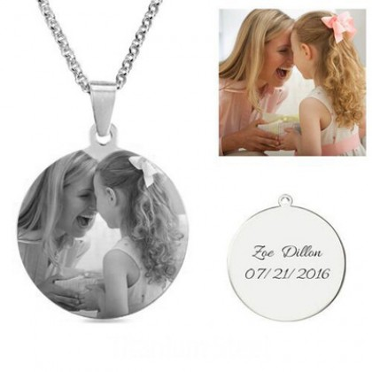 Stainless Steel Round-shaped Photo Engraved Pendant