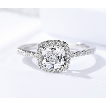 SERA 925 Sterling Silver 18k White Gold Plated Benedicte Halo Engagement Ring
