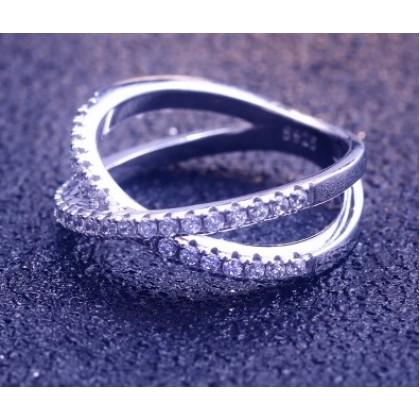Sera 925 Sterling Silver Diamante Zigzag Ladies Ring