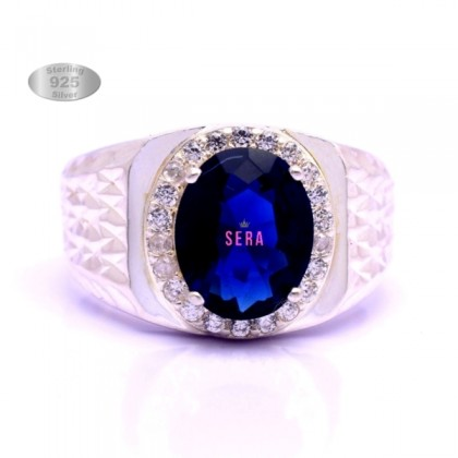 SERA 925 Sterling Silver Male Sapphire Blue Color Wedding Ring