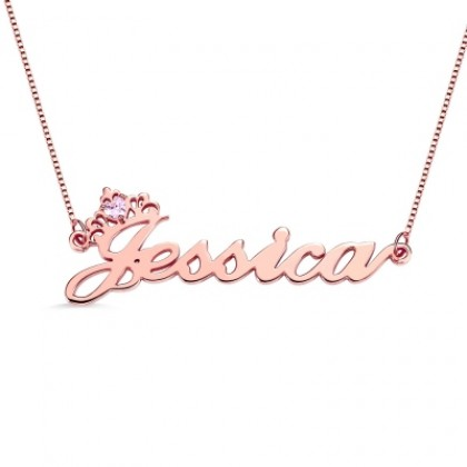 925 Silver Plated Rose Gold Name Necklace With Crown