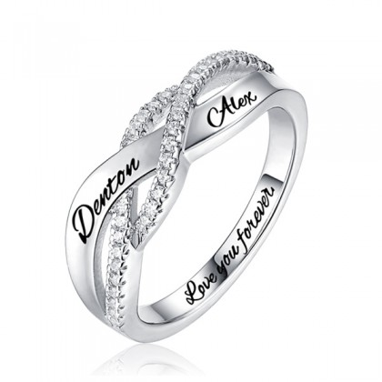 925 Engraved Name Sterling Silver Twisted Ring