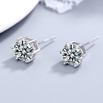 SERA 925 Silver Cubic Zirconia Stones 6mm Round Halo Stud Earrings