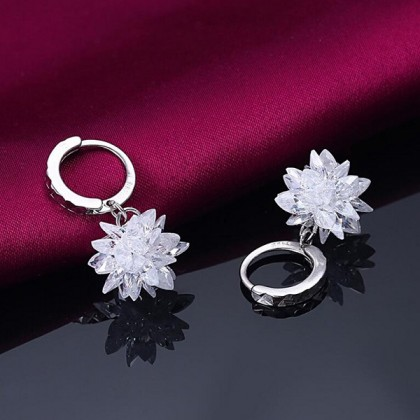 SERA 925 Sterling Silver Dangle Stud With Full CZ