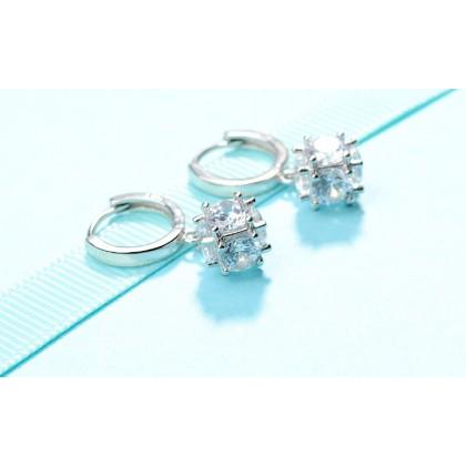 SERA 925 Sterling Silver Dangle Stud Earrings with CZ