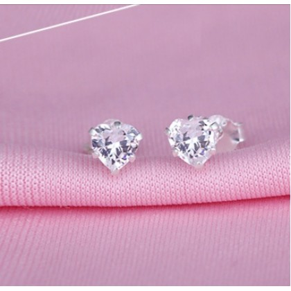 SERA 925 Sterling Silver Clear WhiteHeart Stud Earring With AAA CZ