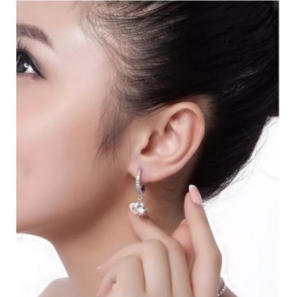 925 Sterling Silver Dangling With Full Crystal Earrling