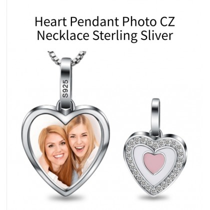 925 Sterling Silver Heart Pendant Photo Necklace