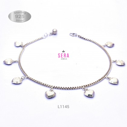 Sera 925 Sterling Silver Curb Chain Lovely Charm Anklet For Female