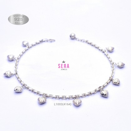 Sera 925 Sterling Silver Anchor Chain Heart Charm Anklet For Women