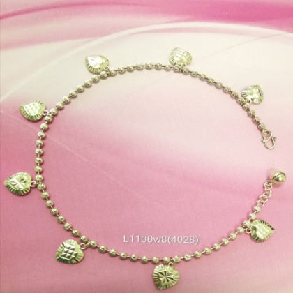 Sera Sterling Silver Moon Cut Heart Bead Chain Anklet For Female