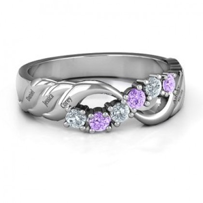 Engravable Infinity Wave Ring 925 Silver with Gemstones