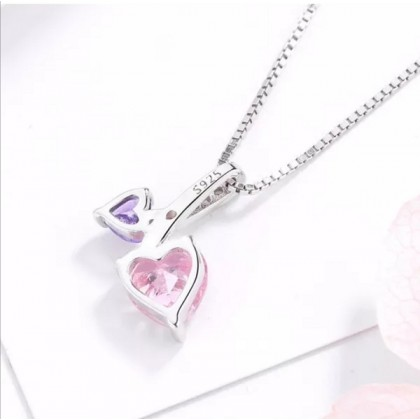 925 Sterling Silver With Whitegold Plated Twin-Heart Shape Pendant PL05