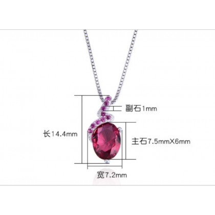 925 Sterling Silver with Whitegold Plated Ruby Zircon Pendant PM07