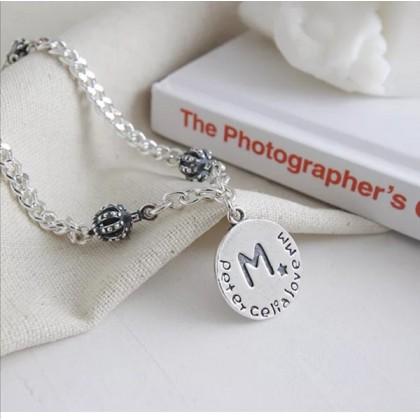SERA 925 Sterling Silver Circle Shape Alphabet Charm Fashion Bracelet