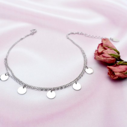 Sera 925 Sterling Silver Fancy Double Layer Fashion Anklet For Female