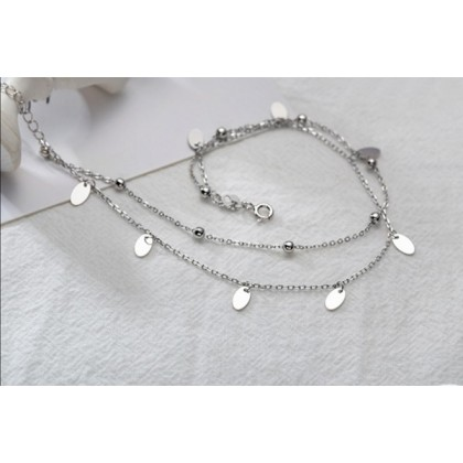 Sera 925 Sterling Silver Double Layer Fashion Anklet