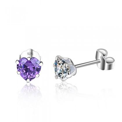 SERA 925 Sterling Silver Amethyst Heart Stud Earring With AAA CZ