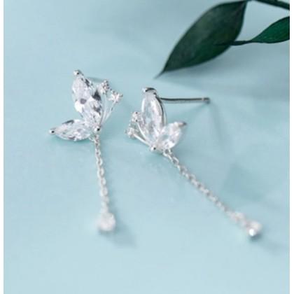SERA 925 Sterling Silver Korean Style Fashion Fresh Diamond Butterfly earrings