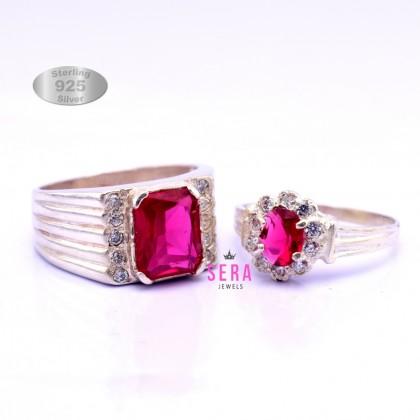 Sera 925 Genuine Silver Couple Ruby Ring CR06