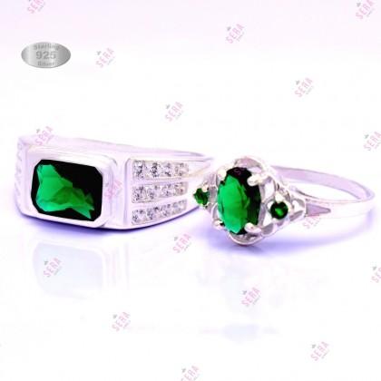 Sera 925 Genuine Silver Couple Ruby Ring CR07