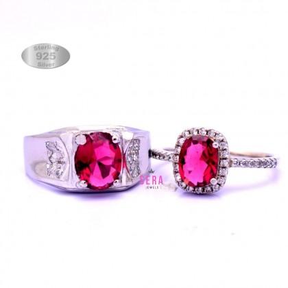 Sera 925 Genuine Silver Couple Ruby Ring CR10