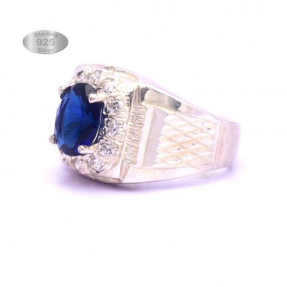 Sera 925 Sterling Silver Sapphire Blue Zircon Engagement Men Ring