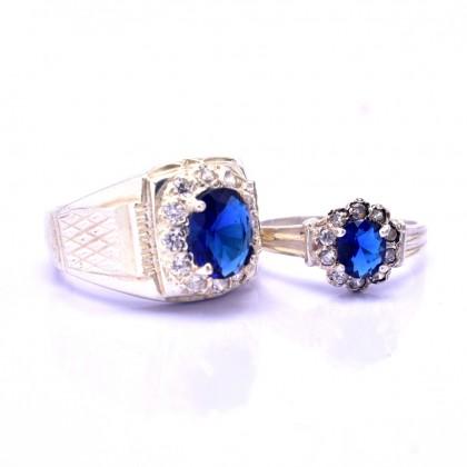 Sera 925 Genuine Silver Couple Ruby Ring CR47