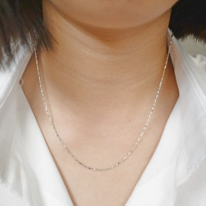 Sera 925 Sterling Silver Whitegold Plated Chain Necklace