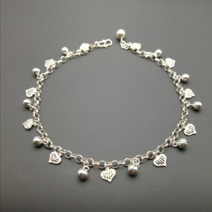 Sera Sterling Silver Luxury Heart & Bell Anklet For Female