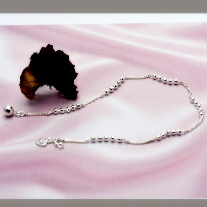 Sera Sterling Silver Luxury Bead Chain Anklet For Female