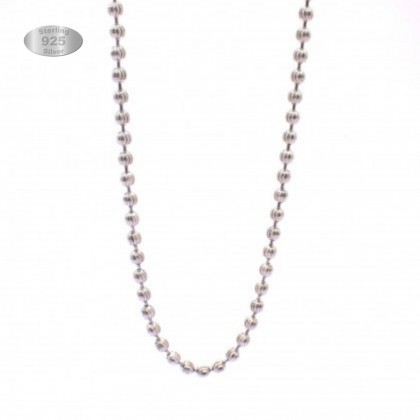 Sera 925 Sterling Silver Bead Moon Cut Chain Necklace