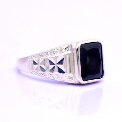 Sera 925 Sterling Silver Black Jet Zircon Engagement Men Ring