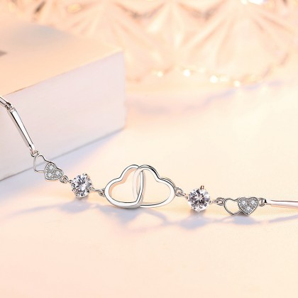 925 Sterling Silver Plated Whitegold Ladies Twin Love Fashion Bracelet
