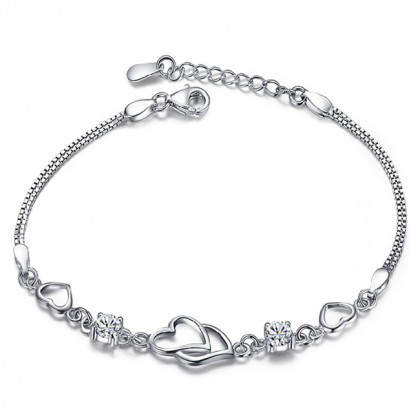 925 Sterling Silver Ladies Twin Love Fashion Bracelet