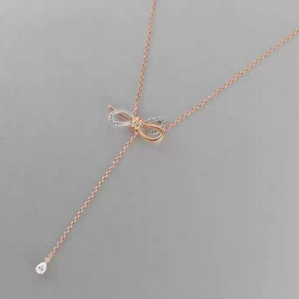 Sera 925 Silver Plated RoseGold American Style Water Drop Tassel Necklace