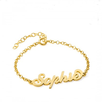 925 Sterling Silver Plated Gold Personalized Name Bracelet Carrie Style